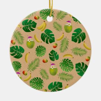 Tropical pattern round ceramic ornament