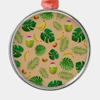 Tropical pattern Silver-Colored round ornament