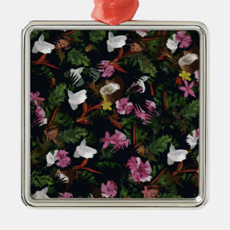 Tropical pattern Silver-Colored square ornament