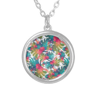 Tropical Pattern Silver Plated Necklace