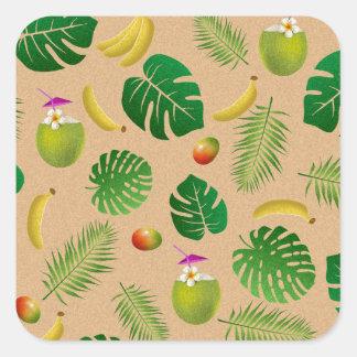 Tropical pattern square sticker