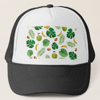Tropical pattern trucker hat