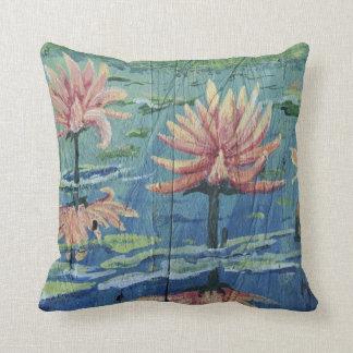 """Tropical Peach Lilies Throw Pillow 16"""" x 16"""""""