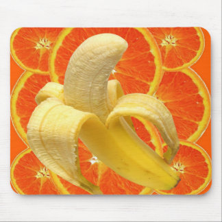 TROPICAL PEELED BANANA & JUICY ORANGE SLICES MOUSE PAD