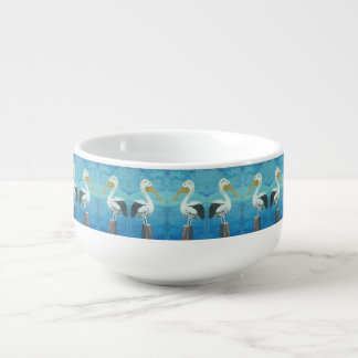 Tropical Pelican Jumbo Bowl – Blue White by Yotigo