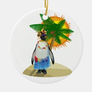 Tropical penguin ceramic ornament