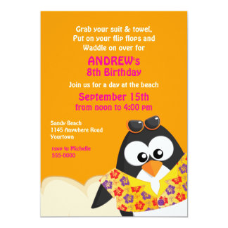 "Tropical Penguin on the Beach Birthday 5"" X 7"" Invitation Card"