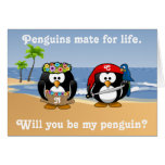 Tropical Penguins Couple Hula Pirate Island Beach Greeting Cards
