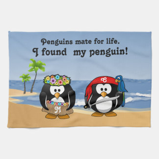 Tropical Penguins Couple Hula Pirate Island Beach Kitchen Towel