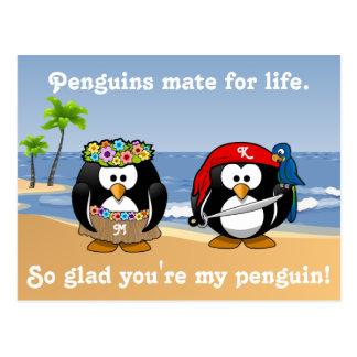 Tropical Penguins Couple Hula Pirate Island Beach Postcard
