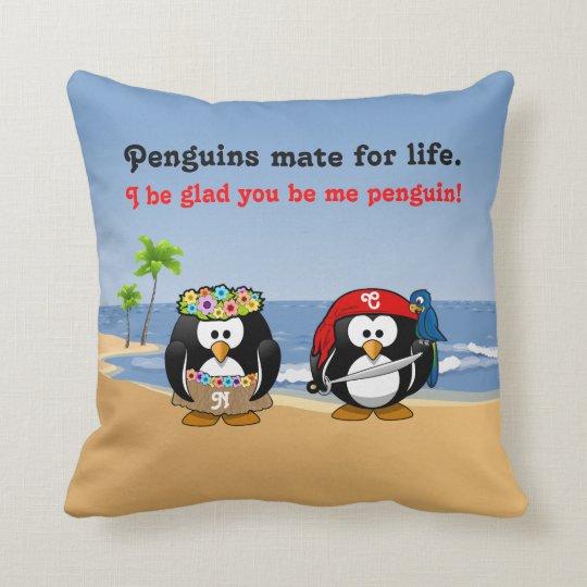 Tropical Penguins Couple Hula Pirate Island Beach Throw Pillow