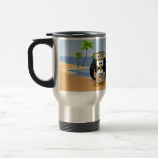 Tropical Penguins Couple Hula Pirate Island Beach Travel Mug