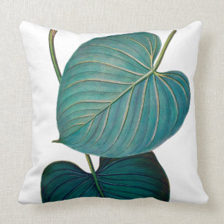 Tropical Philodendron Green Leaves Cushion