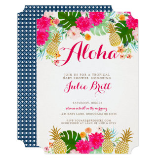Tropical Pineapple Baby Shower Invite