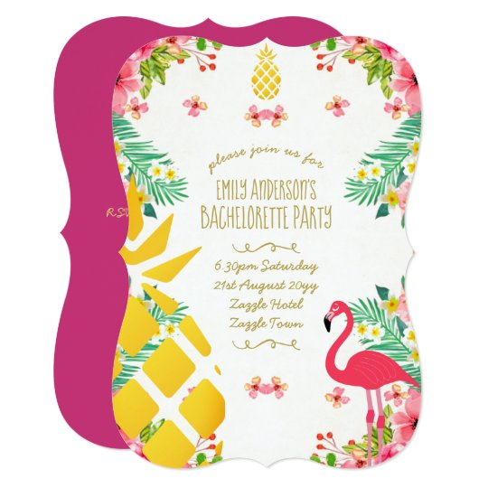 Tropical Pineapple Bachelorette Pink Flamingo Card