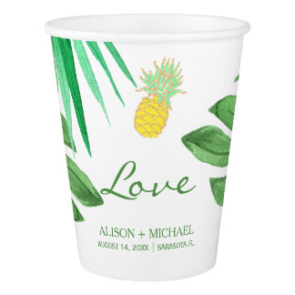 Tropical pineapple beach green gold wedding paper cup