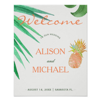 Tropical pineapple beach peachy green wedding sign