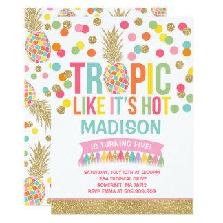 Tropical Pineapple Birthday Invitation