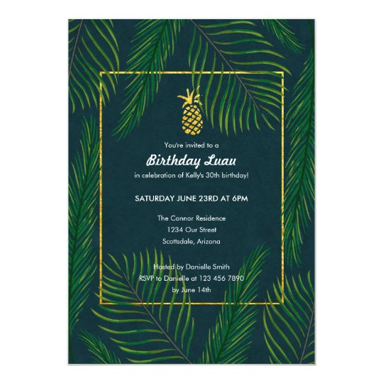 Tropical Pineapple Birthday Luau Party Card