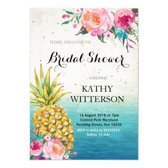 Tropical Pineapple Bridal Shower Invitation