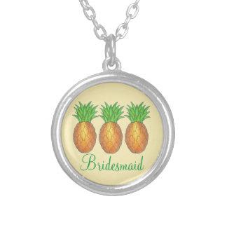 Tropical Pineapple Bridesmaid Wedding Necklace