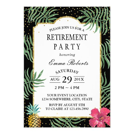 Tropical Pineapple Elegant Beach Retirement Card