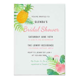 Tropical Pineapple Flamingo Bridal Shower invite