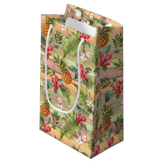 Tropical Pineapple Fruit Floral Stripes Pattern Small Gift Bag