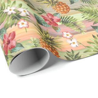 Tropical Pineapple Fruit Floral Stripes Pattern Wrapping Paper