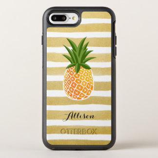 Tropical Pineapple Gold Stripes Monogram Name OtterBox Symmetry iPhone 8 Plus/7 Plus Case