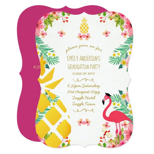 Tropical Pineapple GRADUATION Pink Flamingo Fun Card