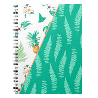 Tropical pineapple Green Leaf Fresh Student Trendy Spiral Note Book