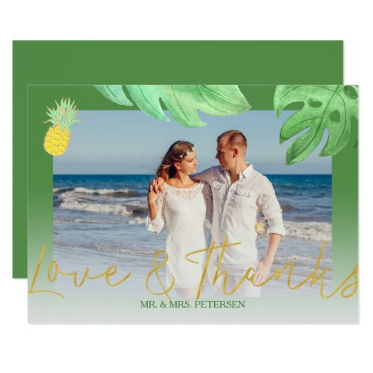 Tropical pineapple green wedding thank you photo card