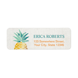 Tropical Pineapple Hawaiian Classy Linen Return Address Label