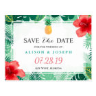 Tropical Pineapple Hawaiian Hibiscus Save the Date Postcard