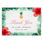 Tropical Pineapple Hibiscus Leaves Thank You Card