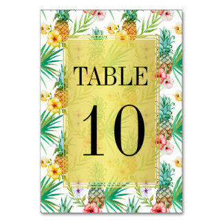 Tropical Pineapple & Hibiscus Wedding Table Number