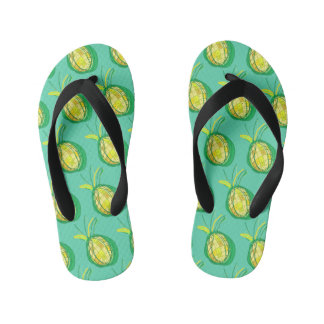 Tropical pineapple kid's flip flops