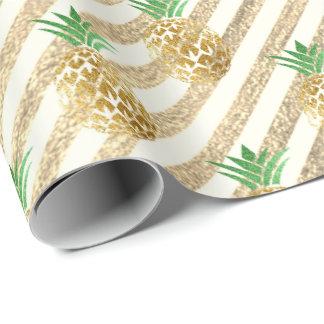 Tropical pineapple leafs green gold stripes white wrapping paper