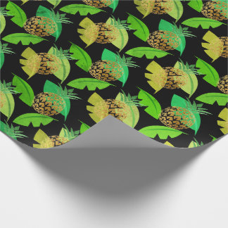 Tropical pineapple leafs green gold woodland black wrapping paper