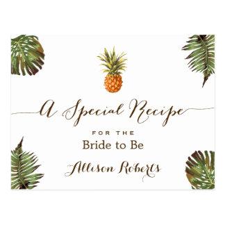 Tropical Pineapple Leaves Bridal Shower Recipe Postcard