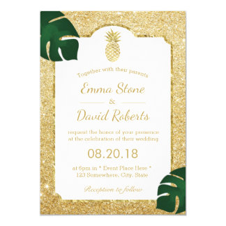 Tropical Pineapple Modern Gold Glitter Wedding Card
