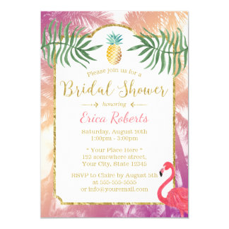 Tropical Pineapple & Palm Trees Bridal Shower Card