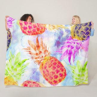 Tropical Pineapple Pattern Beautiful Watercolor Fleece Blanket
