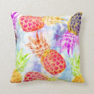 Tropical Pineapple Pattern Beautiful Watercolor Throw Pillow