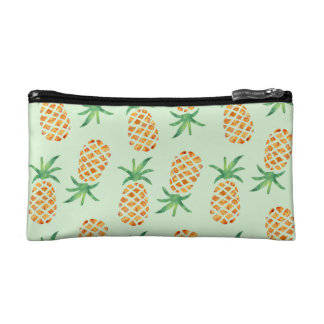 Tropical Pineapple Pattern   Pastel Green Makeup Bag