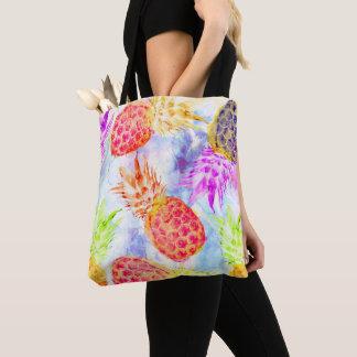 Tropical Pineapple Pattern Pretty Artsy Watercolor Tote Bag