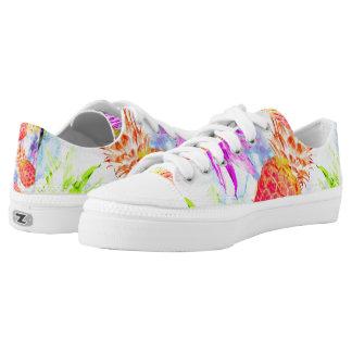 Tropical Pineapple Pattern Pretty Watercolor Low-Top Sneakers