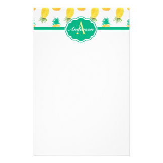 Tropical Pineapple Patterned Monogrammed Customized Stationery