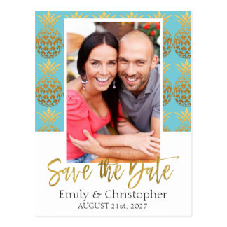 Tropical Pineapple Photo Save the Date Card